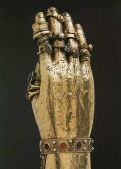 Finger rings on the hand of the arm reliquary of Saint Blaise at Braunschwieg. (rings given between ca 1050 until the 1500s)