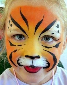 Simple face painting designs are not hard. Many people think that in order to have a great face painting creation, they have to use complex designs, rather then simple face painting designs. Tiger Face Paint Easy, Lion Face Paint, Tiger Face Paints, Face Painting Tutorials, Face Painting Designs, Paint Designs, Body Painting, Maquillage Halloween, Halloween Makeup