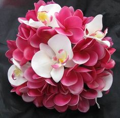 Love this, but it's the wrong colors - Natural Touch Bouquet Frangipani Plumeria Orchid (keep)