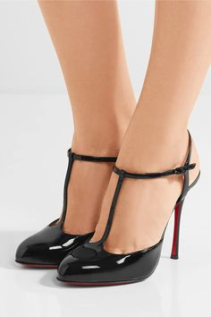 Heel measures approximately 100mm/ 4 inches Black patent-leather Buckle-fastening ankle strap Made in Italy