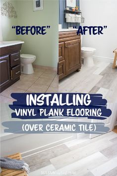Are you considering flooring options for your next renovation? Here's our experience of installing Lifeproof vinyl plank flooring over ceramic tiles for our bathroom renovation. Installing Vinyl Plank Flooring, Vinyl Flooring Bathroom, Bathroom Vinyl, Luxury Vinyl Flooring, Best Flooring, Luxury Vinyl Plank, Vinyl Tiles, Diy Flooring, Flooring Options
