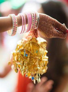 Wedding Kaleere - WedMeGood Bridal Chooda and gold kaleere with light blue drops #wedmegood