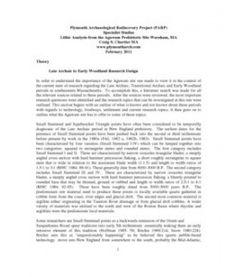 Agawam Site Lithic Analysis