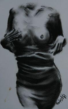 Bewegung, Viktringer kreis, Kohlezeichnung, Körper, Mensch, Frau