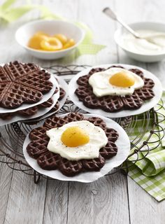 Chocolate waffles for Easter breakfast or so - Source by Easter Recipes, Holiday Recipes, Chocolate Waffles, How To Eat Better, Pancakes And Waffles, Breakfast Bake, Easter Brunch, Sweet Cakes, Creative Food