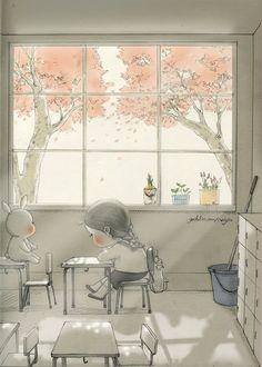 창가에 앉는 걸 좋아했었어.  어쩌면 햇살이 어루만져 주었는지도 몰라.. 뜬구름같은 희미한 불안감으로 자랐던, 꽃잎처럼 예민했던 내 사춘기의 나날들을 말이야.   I used to enjoy sitting next to the windows at school. Maybe the sunshine padded me.. When I was full of anxiety of uncertain days to come,  and sensitive moments like petal.