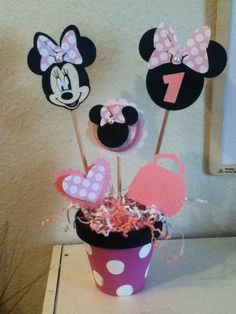 Minnie Mouse Birthday Party Centerpieces- customized. $15.00, via Etsy.