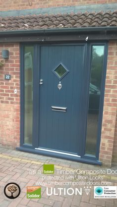 Anthracite Grey Flint 1 with Side Panels Solidor Timber Composite Door Composite Front Doors Uk, Grey Front Doors, Front Doors With Windows, Porch Designs Uk, Front Porch Design, Main Door Design, Porch Uk, Porch Doors, Entrance Doors