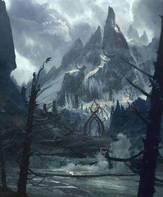 """At Mountains Feet"" Art by Josu Solano on Tag a friend! Fantasy Artwork, Fantasy Art Landscapes, Fantasy Concept Art, Dark Fantasy, Dark Landscape, Landscape Concept, Fantasy Landscape, Mountain Landscape, Fantasy Places"