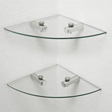 Glass Corner Shelves 2pk