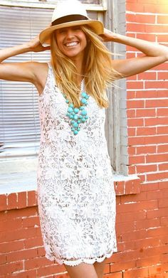 white + turquoise love the hat Passion For Fashion, Love Fashion, Fashion Drug, Style Fashion, Lace Dress, White Dress, White Lace, Before Wedding, Facon