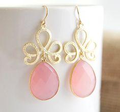 Pink Earrings  Pink Chalcedony Earrings   Bezel Set by Jewels2Luv, $46.25