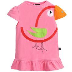 UBANG Girls Pink Organic Cotton Jersey Bird T-Shirt at Childrensalon.com
