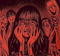 junji ito shared by haiden on We Heart It Red Aesthetic, Aesthetic Grunge, Aesthetic Anime, Arte Horror, Horror Art, Creepy Art, Scary, Arte Emo, Lila Baby
