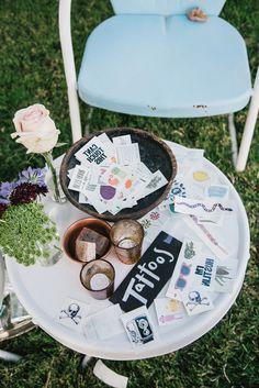 Tattly tattoo bar at Eileen & Tyler's Movie Themed Saddlerock Ranch Wedding, Photo by The Melideos Wedding Games, Wedding Favours, Our Wedding, Wedding Blog, Bridal Musings, Tattoo Bar, Temp Tattoo, Tattoo Station, 16 Bars