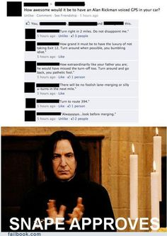 """How awesome would it be if Alan Rickman voiced the GPS in your car?"""