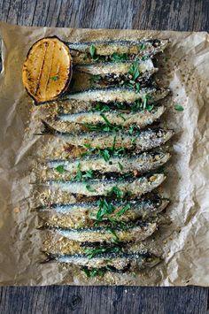 BAKED SARDINE, KALE, PINE NUTS & RAISINS with CARAMELIZED LEMON [heneedsfood]