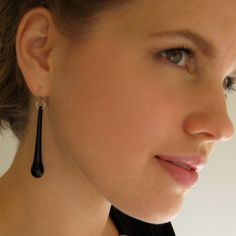 Hand Blown Glass Earrings, Black Glass