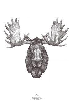 Moose head Printable / Art Print Moose Print Animal par HomePoster