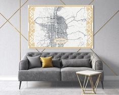 SAN FRANCISCO California map White Art Deco Large Canvas print Map Panoramic Wall art canvas print ready to hang Gallery Art Deco Map Style 3 Panel Wall Art, Map Wall Art, Wall Art Prints, California Map, San Francisco California, Blue Office Decor, All The Colors, Vivid Colors, Large Canvas Prints