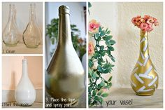 A Wine Bottle Turns Into A Pretty Vase