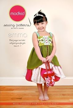 Modkid Emma Petal Jumper and skirt sewing pattern by Patty Young, FREE SHIPPING with any other purchase