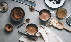 hot spicy cocoa        (2 cups)      * 3 cups unsweetened nut milk     * 3 tbsp raw cacao powder     * 2 tbsp nut butter     * 1 tbsp maca powder     * 4 fresh soft dates (unpitted)     * ½ tsp vanilla bean, seeds scraped     * A pinch of nutmeg, clove, chili powder     * A pinch of sea salt     * Coconut flakes, to garnish  Treating ourselves with something warm, full of taste and a delicate  sweetness. In the winter time, when it is cold and dark outside, it is an  important to ...