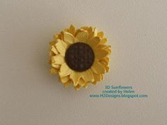 3D Sunflower Tutorial http://h2designs.blogspot.com/2011/11/3d-sunflower-tutorial.html