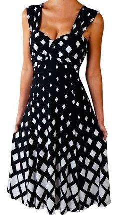 Funfash Plus Size Black White Diamond Womens Empire Waist Cocktail Dress