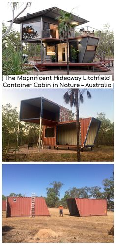 The Magnificent Hideaway Litchfield Container Cabi. - The Magnificent Hideaway Litchfield Container Cabin in Nature – Australia - Shipping Container Home Designs, Shipping Container House Plans, Container House Design, Tiny House Design, Shipping Containers, Shipping Container Homes Australia, Shipping Container Buildings, Building A Container Home, Container Architecture