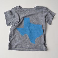 Texas tee gray shirt with blue ink by mamacaseprints on Etsy, $18.00