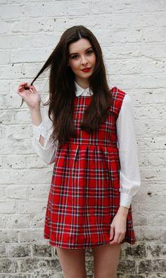 Tartan Pinafore Smock Dress (XS-XL) - Vintage Style Me