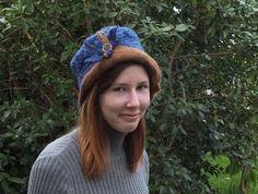 Felt hat wool hat wool and alpaca hat Brown Blue by FeltSoapGood, Sold