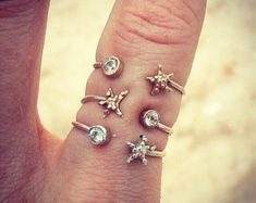Triple Star Fish Topaz Gold and Silver Stacking Rings - Ocean Jewellery by Sophie Jade Jewellery