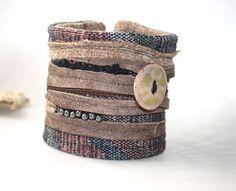 Leather Textile Enamel Bracelet Wrist Cuff by Waterrose on Etsy, $55.00