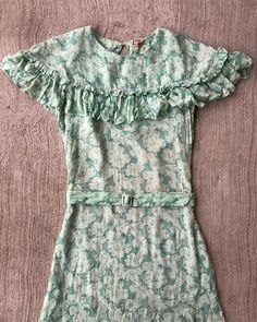 """d91d6810 Boswell Vintage on Instagram: """"SOLD // DM to purchase ~ The dreamiest early  to mid 1930s floral dress! Has the cutest metal belt buckle and tag! Semi  sheer."""
