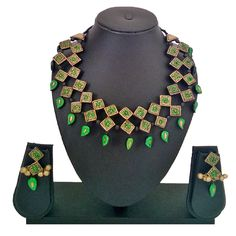 Handmade TerraCotta Family of Green diamnods Necklace Set with Ear Rings - Craft Shops India