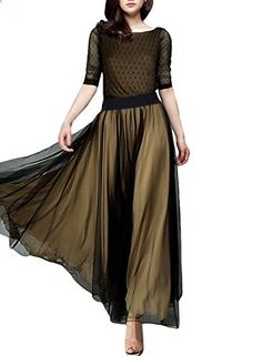 Miusol Women's Casual Dot Polka 2/3 sleeve Summner Maxi Classical Dress  Go to the website to read more description.
