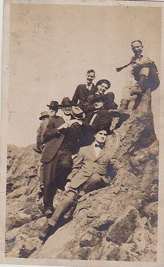 Vintage Antique Photograph Group of Men Dressed Up Sitting on Rocks Cliff