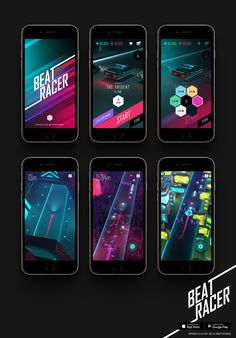 Creative Neon, Beatracer, Gui, Game, and Jmchoe image ideas & inspiration on Designspiration 2d Game Art, Game Gui, Game Ui Design, Rhythm Games, Space Games, Game Interface, Software Online, Color Games, Typing Games
