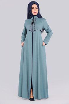 Nakışlı Pardesü PD200 Mint Abaya Fashion, Muslim Fashion, Fashion Dresses, Hijab Dress Party, Frock For Women, Salwar Designs, Beautiful Hijab, Mode Hijab, Modest Outfits