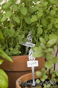 Make cute little labels from old cutlery the easy way. Perfect for an herb garden. www.songbirdblog.com