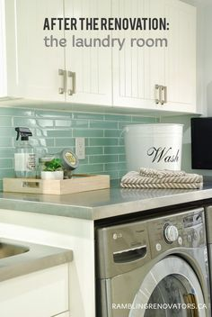 Love the splash back colour Small Laundry Room With Big Style - Are you struggling with a small laundry space? See how we maximized function and style in this galley-style laundry room. Laundry Closet, Laundry In Bathroom, Laundry Rooms, Ikea Laundry, Laundry Decor, Basement Laundry, Laundry Room Organization, Laundry Room Design, Organization Ideas
