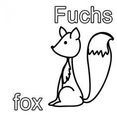 Englisch Lernen Ausmalbild Fuchs