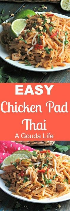 Easy Chicken Pad Thai ~ authentic flavor created with simple ingredients found at the grocery store. Everything cooks in just 1 pot.