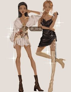 Jennie and Rosé Fanart Model Sketch, Blackpink Fashion, Jennie Blackpink, Fashion Design Sketches, Kpop Fanart, Stage Outfits, Anime Outfits, Cartoon Styles, Fan Art
