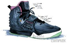 Original sketch of the Black/Solar Red colorway of the Air Yeezy 2. Photo from Complex.