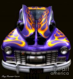 ✮ This Dodge street rod had a custom flames paint job that deserved to be showcased. The car was displayed at a rod & custom show, the Symco Shakedown, near Manawa, Wisc