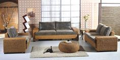 Featured : Awesome rattan living room furniture with grey fur rug on table sofa sets and grey cushions picture - a part of Inspiring Featured Vintage Makeover Home Ideas With Cement Flooring Tile Concept Also Rattan Sofa Bed Featured
