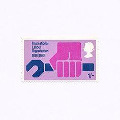 International Labour Organisation 1919 | 1969 (1/-). Great Britain, 1969. Design: Philip Sharland. #mnh #graphilately